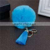 Fashion Gold Plated Blue Angora Rayon Tassel Key Chain Pompom
