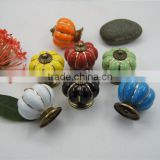 High Quality Pumpkin Style Ceramic Drawer Handle 7 Color Furniture Round Cabinet Knob Door Cupboard Wardrobe Pull Knob