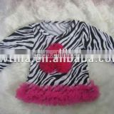 Fast Shipping hot pink chiffon petti top with chiffon ruffle zebra long sleeve children tshirt in autumn for baby fall