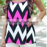 Wholesale Women Zig Zag Chevron Tank Tops and Blouses,Custom 2016 Top Selling Sleeveless Printed Crop Tops For Women
