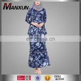 Modest Satin Printed Flower Women Navy Blue Long Sleeves Skirt Two Pieces Muslim Ladies High Quality Baju Kurung