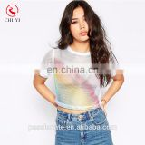 New arrival mesh rainbow crop top tshirt for girls