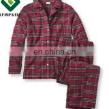 Women's Tartan Flannel Pajama Set-Red checks