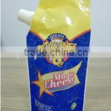 stand up spout plastic sauce bag/jam packaging pouch with spout/pet cheese pouch with nozzle