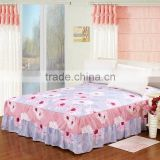 128*68 pigment printing beautiful embroidery design sexy bedding sets fitted bed skirt/ hotel bed skirt