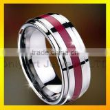 arty red enamel tungsten ring
