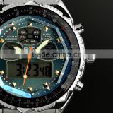 Brand New mens man analog digital alarm blue face stainless steel sport quartz watch WM007-ESS