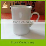 9oz Flaring mouth white ceramic stocked mugs, straight body coffee cup with ear shape handle