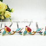 Bird and flower Polyresin Shower curtain hooks