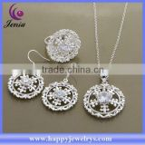 Fashion ring ,earring ,pendant set 925 silver plated cheap rhinestone jewelry set (AT560)