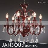 JANSOUL new design 6 lights coloured red glass chandelier                                                                         Quality Choice