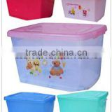 Stackable foldable plastic container storage bin for cloths