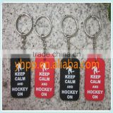 Custom Keep Calm and Hockey on Silicone Dog Tag Metal Keychain Ring                                                                         Quality Choice