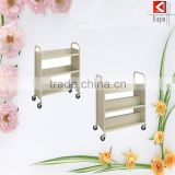 New design wheeled 3 tier metal hand trolley rolling book cart with great price