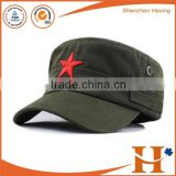Factory price! hot sale black plain army cap flat top cap custom military cap,wholesale embroidery army military hats