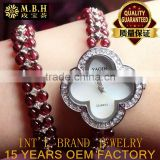hot fashion Europe and America Cai Bao jewelry 925 silver inlaid natural garnet watch bracelet Jewelry