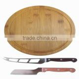 round pastry bamboo cutting block with knife