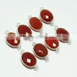 Luxury !! Carnelian Oval Shape Gemstone Silver Connectors, Gemstone Silver Jewelry Connectors, Gemstone Silver Connectors