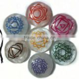 Crystal Agate Engrave Chakra Colourful Disc set with velvet purse : Wholesaler Manufacturer