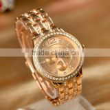 fashion geneva watch with crystall Women's Rhinestone Watches Steel Geneva analog display wristwatch oem order