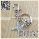 Promotional Silver Metal Key Ring Crystal Star Shape Keychain