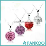 Fashion rhinestone crystal ball-beads charm pendant jewelry,925 sterling silver pendant necklace