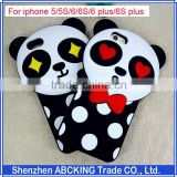 Fashion 3D Lovely Cartoon Panda Black Polka Dot Soft Silicon Cases For iPhone 5/5S/6/6 Plus/6S/6S Plus Rubber Cell Phone Cases