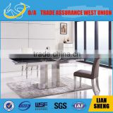 Elegant dinning table with tempered glass panel top and stainless steel frame