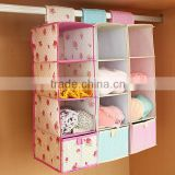 Non wolven fabric decorative Hanging folding storage bag with drawer for bedroom cabinet wardrobe