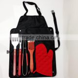 Stainless Steel 6pcs BBQ Grill tool set wooden handle apron bag W-B0954