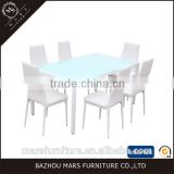 Modern Furniture Glass Kitchen Dining Dinette Top Dining Set 6 Person Dining Table and Chairs Set