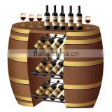 Liquor barrel display showcase for french wine, opened barrel rack cabinet for grape wine/drink display cabinet