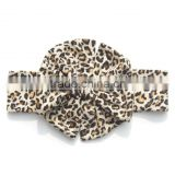Fashion leopard vintage hair accessories cheap stretch bracelet headband for baby girls fancy knitted baby hair bow headband