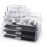 Wholesale Makeup Cosmetics Organizer Acrylic Transparent 3 Drawers Storage Box / Acrylic Makeup Organizer