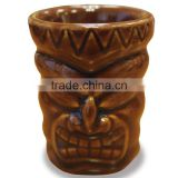Ceramic Tiki Shot Glass Short Tiki Brown