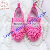 Mei red dot ruffled princess shoes three layers