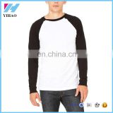 Yihao 2017 Wholesale 100% cotton men's high quality contrast color sports t shirts custom long sleeve baseball t shirt