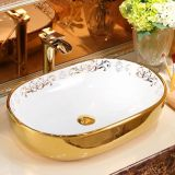 Modern design ceramic big size oval golden bathroom wash art basin