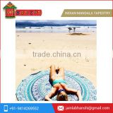 Traditional Indian Mandala Round Roundie Beach Throw Tapestry Cotton Tablecloth Beach Towel Round Yoga Mat