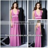 A-line V-neck Sleeveless Chiffon Ankle-length Maternity Bridesmaid Dresses