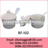 Zibo Made Personalized Cheap White Ceramic Jars with Spoon for Tableware