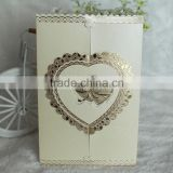 2016 Wholesale Gatefold Gold Embossed Heart Wedding Card Invitation                                                                         Quality Choice