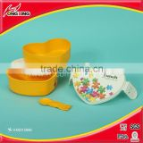 Heart shaped plastic tiffin lunch box / bento box for children