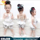 2016 European Collection Kids' Wear Baby Girl 2 pcs Halter Strap+Sequined Shorts Baby Girl Sets