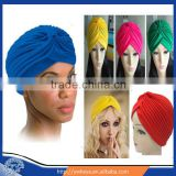 Hot Selling 2016 Elegant Unisex pure color india turban headband hijab cap