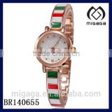 fashion rosy gold plating alloy quartz watch*women's enamel rose plating alloy watch