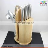 Multifunction kitchen set with kitchenware board wooden block knife