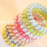 Plastic mixed color cartoon rabbit elastic candy quality cheap women telephone wire hair circle
