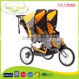 BS-44B european 3 in 1 design softtextile china double baby stroller baby pram manufacturer                                                                         Quality Choice