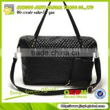 2013 black quilted pu shoulder bag promotional ladies fashion travel bag with coin pouch